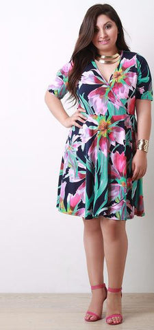 Abstract Floral Surplice Elbow Sleeve Wrap Midi Dress - Beauty & Bronze Clothing and Accessories
