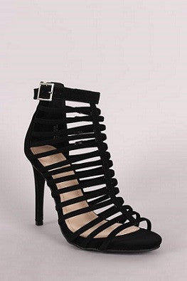 Anne Michelle Nubuck Strappy Buckled Stiletto Heel