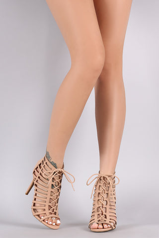 Anne Michelle Nubuck Caged Lace Up Stiletto Heel - Beauty & Bronze Clothing and Accessories