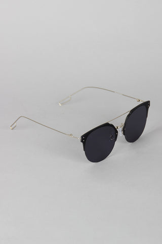 Double Bridge Rimless Horn Rimmed Sunglasses - Beauty & Bronze Clothing and Accessories