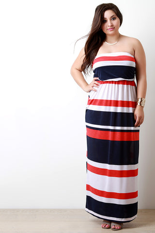 Multicolor Striped Empire Waist Maxi Dress - Beauty & Bronze Clothing and Accessories