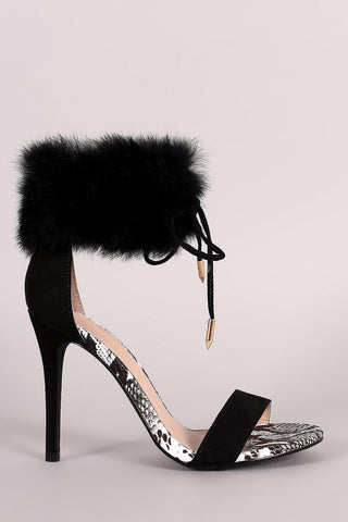Shoe Republic LA Furry Ankle Cuff One Band Stiletto Heel - Beauty & Bronze Clothing and Accessories