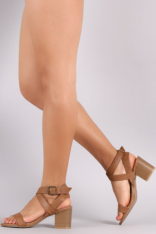 Bamboo Crisscross Ankle Strap Chunky Block Heel - Beauty & Bronze Clothing and Accessories