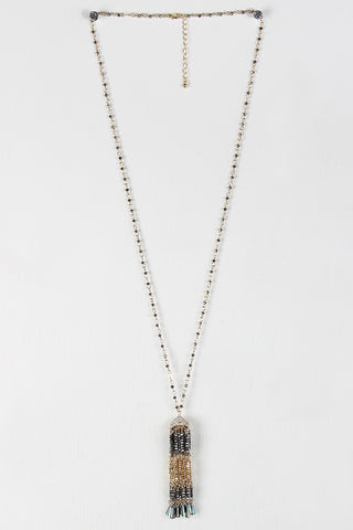 Beaded Tassel Pendant Necklace - Beauty & Bronze Clothing and Accessories