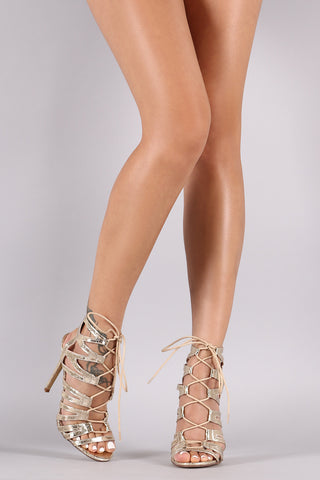 Liliana Crinkled Strappy Lace-Up Stiletto Heel - Beauty & Bronze Clothing and Accessories