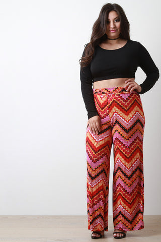 Wavy Chevron Wide Leg Pants - Beauty & Bronze Clothing and Accessories