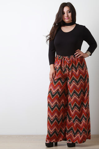 Chevron Tribal Wide Leg Pants - Beauty & Bronze Clothing and Accessories