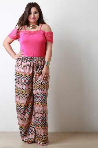 Geo Pattern Wide Leg Pants - Beauty & Bronze Clothing and Accessories
