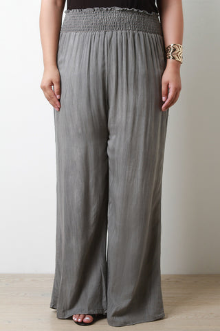 Shirred Elastic Waist Wide Leg Pants - Beauty & Bronze Clothing and Accessories