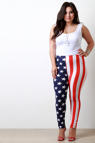 Stars And Stripes Leggings - Beauty & Bronze Clothing and Accessories