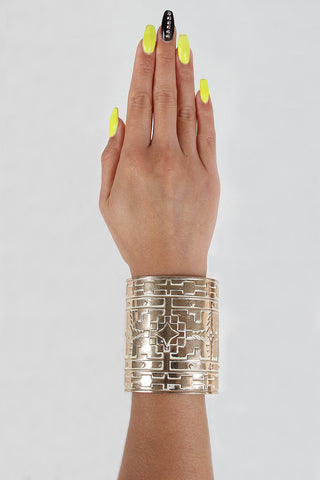 Aztec Metal Cuff Bracelet - Beauty & Bronze Clothing and Accessories