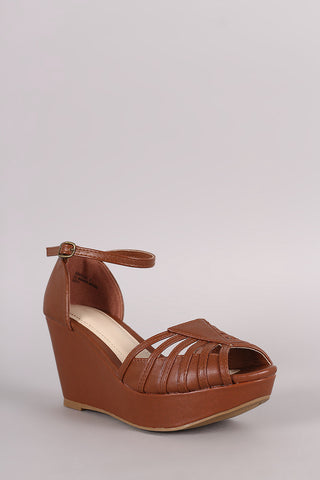 Bamboo Strappy Peep Toe Platform Wedge - Beauty & Bronze Clothing and Accessories