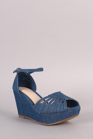 Bamboo Denim Strappy Peep Toe Platform Wedge - Beauty & Bronze Clothing and Accessories