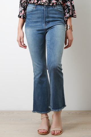 High Waisted Bell Bottom Frayed Hem Crop Denim Jeans - Beauty & Bronze Clothing and Accessories