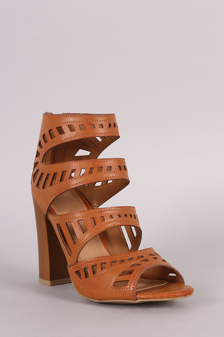 Bamboo Four Strap Cutout Chunky Heel - Beauty & Bronze Clothing and Accessories