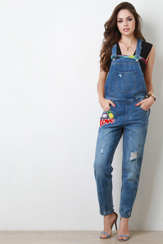 Distressed Faded Patch Overalls - Beauty & Bronze Clothing and Accessories