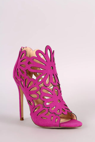 Caged Floral Lasercut Stiletto Heel - Beauty & Bronze Clothing and Accessories