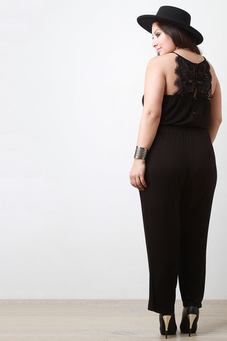 Lace Racerback Jumpsuit - Beauty & Bronze Clothing and Accessories