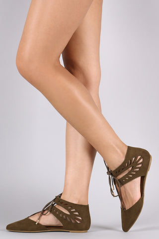 Bamboo Pointy Toe Cutout Lace-Up Ghillie Flat - Beauty & Bronze Clothing and Accessories