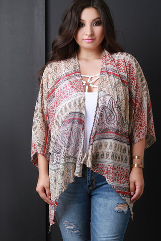 Boho Paisley Chiffon Open Front Cardigan - Beauty & Bronze Clothing and Accessories