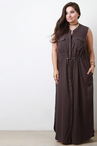 Button-Up Double Pocket Maxi Dress - Beauty & Bronze Clothing and Accessories