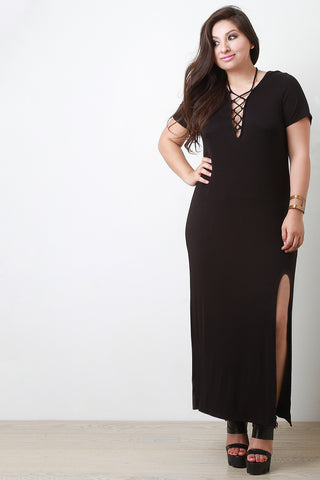 Deep V Lace Up Maxi Dress - Beauty & Bronze Clothing and Accessories