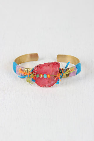 Colorful String And Stone Cuff Bracelet - Beauty & Bronze Clothing and Accessories