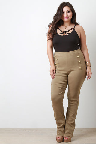 Button Accent High Waisted Pants - Beauty & Bronze Clothing and Accessories