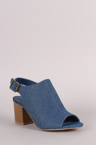 Bamboo Denim Slingback Chunky Mule Heel - Beauty & Bronze Clothing and Accessories