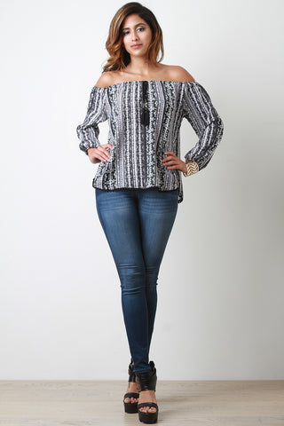 Aztec Off the Shoulder Long Sleeves Blouse - Beauty & Bronze Clothing and Accessories