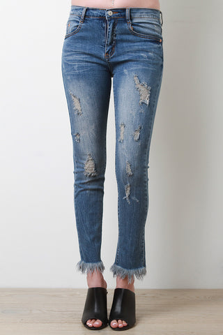 Distress Fringe Hem Denim Jeans - Beauty & Bronze Clothing and Accessories