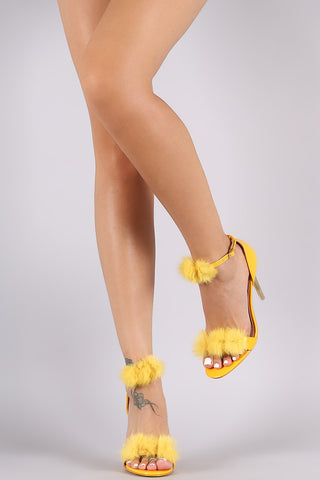 Fur PomPom Ankle Strap Lucite Stiletto Heel - Beauty & Bronze Clothing and Accessories