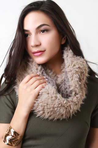 Double Sided Furry and Chunky Knit Circle Scarf - Beauty & Bronze Clothing and Accessories