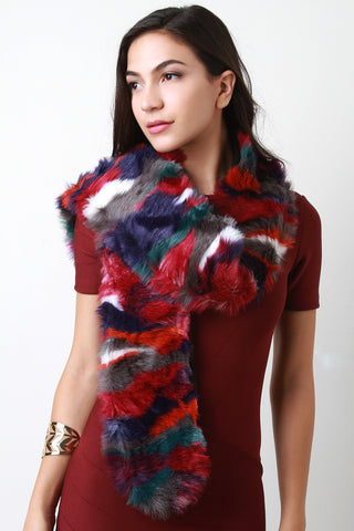 Colorful Fur Scarf - Beauty & Bronze Clothing and Accessories