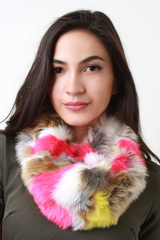 Colorful Furry Circle Scarf - Beauty & Bronze Clothing and Accessories