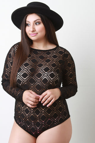 Mesh Long Sleeves Bodysuit - Beauty & Bronze Clothing and Accessories