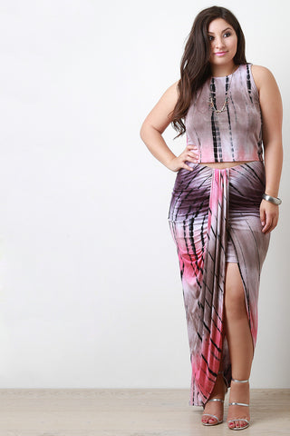 Plus Size Tie Dye Tulip Maxi Skirt - Beauty & Bronze Clothing and Accessories