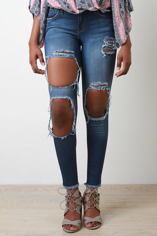 Distress Triple Hole Skinny Jeans - Beauty & Bronze Clothing and Accessories