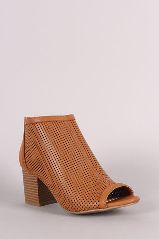 Bamboo Perforated Peep Toe Chunky Heeled Booties - Beauty & Bronze Clothing and Accessories