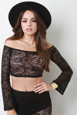 Bardot Floral Lace Bell Sleeves Crop Top - Beauty & Bronze Clothing and Accessories