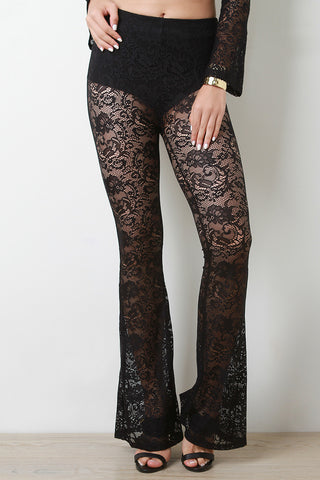 Floral Lace Flare Pants - Beauty & Bronze Clothing and Accessories