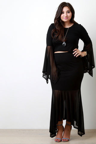 Contrast Mesh Asymmetrical Maxi Skirt - Beauty & Bronze Clothing and Accessories