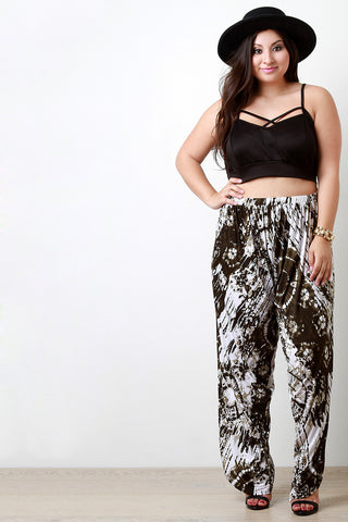 Tie Dye Side Slit Drop Crotch Pants - Beauty & Bronze Clothing and Accessories