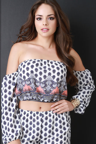 Bohemian Print Bardot Crop Top - Beauty & Bronze Clothing and Accessories
