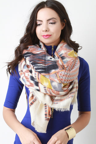 Abstract Navajo Inspired Blanket Scarf - Beauty & Bronze Clothing and Accessories