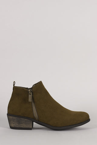 Bamboo Suede Zipper Ankle Boots - Beauty & Bronze Clothing and Accessories