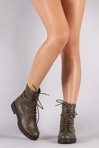 Bamboo Combat Lug Ankle Boots - Beauty & Bronze Clothing and Accessories