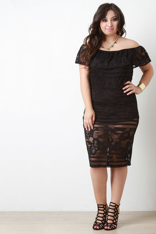Lace Knee Length Pencil Skirt - Beauty & Bronze Clothing and Accessories
