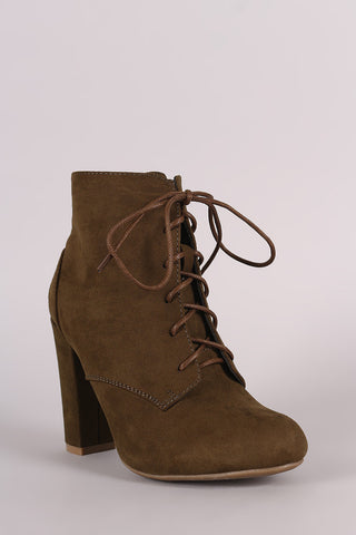Bamboo Lace Up Fur Lined Chunky Heel Ankle Bootie - Beauty & Bronze Clothing and Accessories
