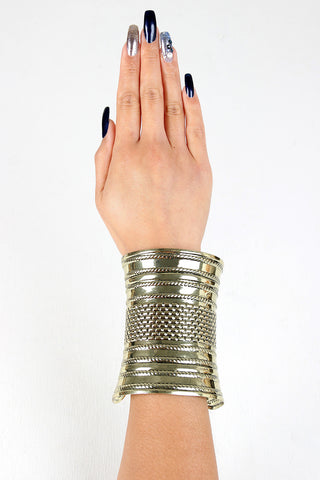 Brick Etched Curved Cuff Bracelet - Beauty & Bronze Clothing and Accessories